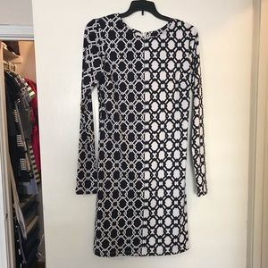 Julie Brown Black and White Geometric Print Dress